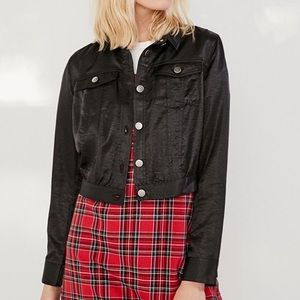 Urban Outfitters cropped satin trucker jacket